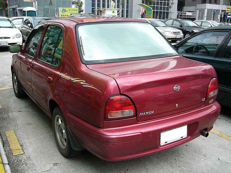 [Image: 800px-Taiwan_Nissan_March_LX_Cubic_left-back.jpg]