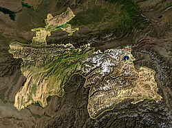 Satellite photograph of Tajikistan
