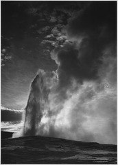 "Taken at dusk or dawn from various angles during eruption. ""Old Faithful Geyser, Yellowstone National Park,"" Wyoming. (v - NARA - 520013.tif"