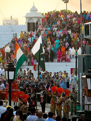 Lahore Declaration - Official flags of India and Pakistan at the Wagha border. In 1999, Indian Prime minister and the high-profile delegation came to Pakistan from Wagha Border and received by Prime Minister Nawaz Sharif.