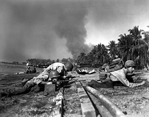 Battle of the Visayas - U.S. soldiers during landings at Talisay Beach, 26 March 1945. U.S. National Archives