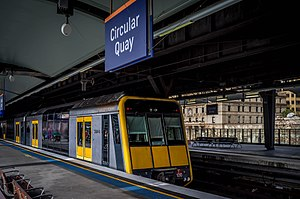 City Circle - A Tangara arriving at Circular Quay, the halfway point of the city circle line.