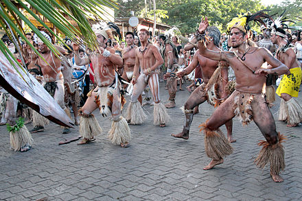 Rapa Nui dancers from Easter Island, Chile. The Rapa Nui are a Polynesian people. Tapati 3351a.jpg