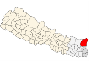 Taplejung District i Mechi Zone (grå) i Eastern Development Region (grå + lysegrå)