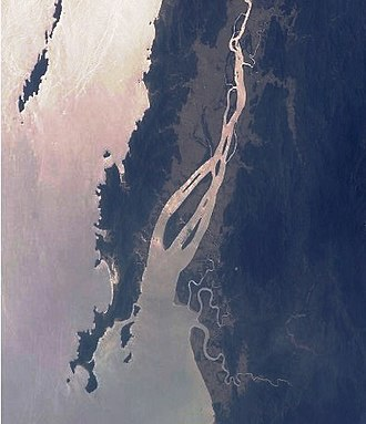 Moscos Islands - Mouth of the Dawei River. The South Moscos can be seen on the upper left side. Photo NASA