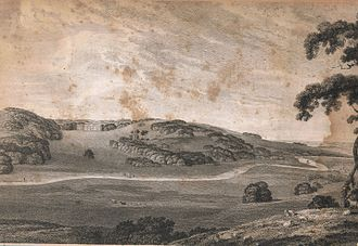 Manor of Tawstock - The Tawstock House and St. Peter's church, Devon, from Codden Hill, by Thomas Bonner for Rev. Richard Polwhele's History of Devonshire, 1797-98. (slightly cropped). 'TAWSTOCK HOUSE, To Sir Bourchier Wrey, Bart