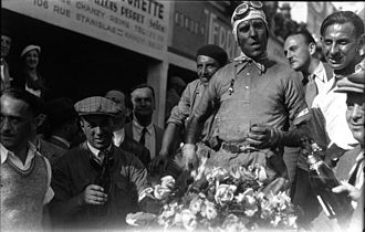 Tazio Nuvolari - Nuvolari after winning the 1932 French Grand Prix