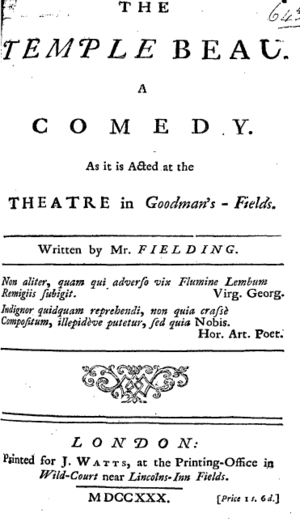 The Temple Beau - Titlepage to The Temple Beau: a Comedy
