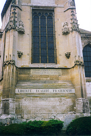 "Temple of Reason - A Republican inscription on a former church: ""Temple of the reason and philosophy"""