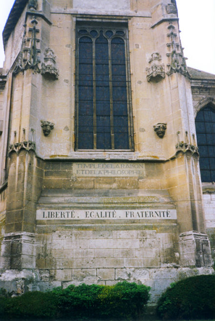 "A Republican inscription on a former church: ""Temple of the reason and philosophy"" Temple de la raison et de la philosophie.jpg"