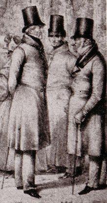Generaladjutant Job von Witzleben (Mitte) im Jahr 1832 bei einem politischen Treffen in Bad Teplitz mit General Leopold Wilhelm von Dobschütz (links) und Frankreichs Botschafter in St. Petersburg, Marquis Nicolas-Joseph Maison (rechts)(Ausschnitt einer Lithografie von Theodor Hosemann, 1807–1875) (Quelle: Wikimedia)