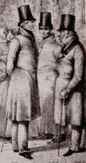 Job von Witzleben - Witzleben flanked by General Leopold Wilhelm von Dobschütz (left) and the French envoy Nicolas Joseph Maison (right) during a meeting in Teplitz, from a lithograph by Theodor Hosemann (1832)