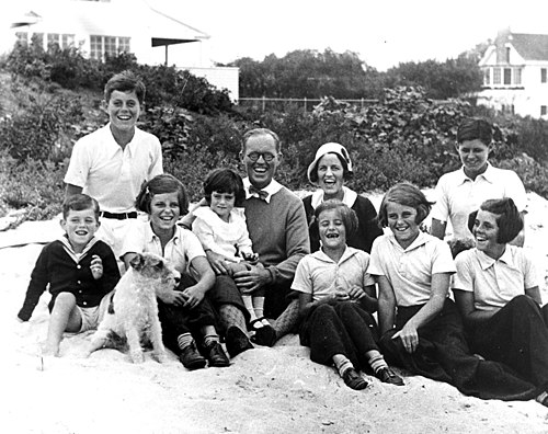 The Kennedy family at Hyannis Port, Massachusetts, in 1931 with Jack at top left in the white shirt. Ted was born the following year TheKennedyFamily1.jpg