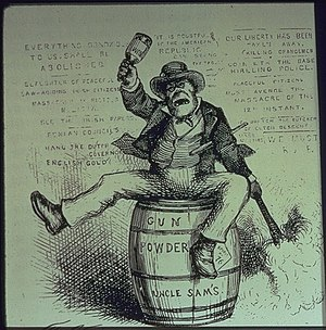 "Anti-Irish sentiment - American political cartoon by Thomas Nast titled ""The Usual Irish Way of Doing Things"", depicting a drunken Irishman lighting a powder keg and swinging a bottle. Published 2 September 1871 in Harper's Weekly."