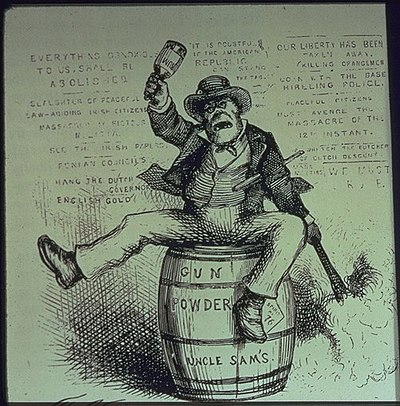 American political cartoon titled The Usual Irish Way of Doing Things, depicting a drunken Irishman lighting a powder keg and swinging a bottle. Published in Harper's Weekly, 1871. TheUsualIrishWayofDoingThings.jpg