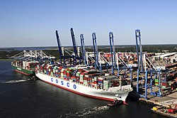 Port of charleston wikipedia the 13092 teu container ship cosco development works at the port of charlestons wando welch malvernweather Images
