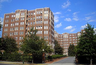 Cleveland Park - The Broadmoor Apartments on Connecticut Avenue, designed by Joseph Abel in 1928, represent the eclecticism of that period