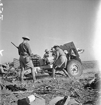 1st Lincolnshire Artillery Volunteers - 25-pounder in action during the advance into Syria, 13 June 1941.