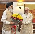The Chief Minister of Punjab, Shri Prakash Singh Badal calls on the Prime Minister, Shri Narendra Modi, in New Delhi on May 29, 2015.jpg