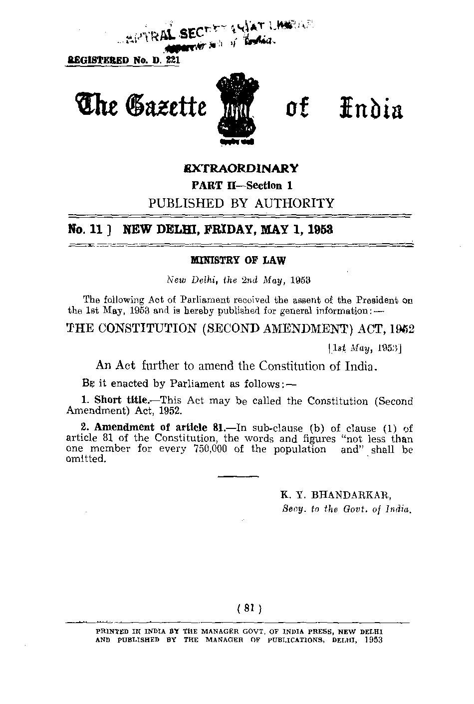 Page:The Constitution of India (2nd Amendment) Act 1953 pdf