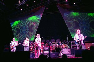 Reunions of the Grateful Dead - The Dead at the Virginia Beach Amphitheater on June 17, 2003. Left to right: Phil Lesh, Joan Osborne, Bob Weir, Mickey Hart, Jimmy Herring. Not pictured: Bill Kreutzmann, Jeff Chimenti, Rob Barraco