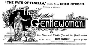 """The Fate of Fenella - The Gentlewoman of January 30, 1892, advertising Bram Stoker's contribution to """"The Fate of Fenella"""""""