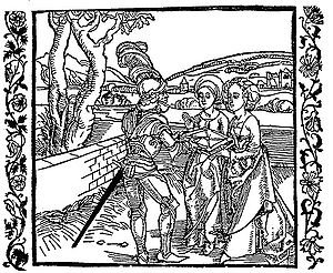 "Geoffroy IV de la Tour Landry - ""Geoffroy de la Tour Landry offering his book to his daughter"", woodcut of Albrecht Dürer, from the German adaptation, Der Ritter vom Turn, Basel, Michael Furter, 1493"