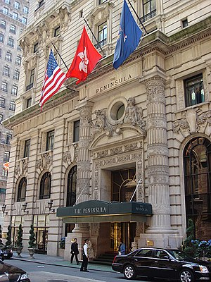 The Peninsula New York - The entrance to the hotel on 55th Street.