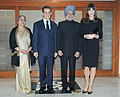 The Prime Minister, Dr. Manmohan Singh and his wife Smt. Gursharan Kaur with the President of France, Mr. Nicolas Sarkozy and his wife Mrs. Carla Bruni, in New Delhi on December 05, 2010.jpg