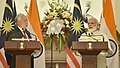 The Prime Minister, Shri Narendra Modi delivering his statement to the media with the Prime Minister of Malaysia, Dato' Sri Mohd Najib Bin Tun Abdul Razak, at the Joint Press Conference, at Hyderabad House, in New Delhi.jpg