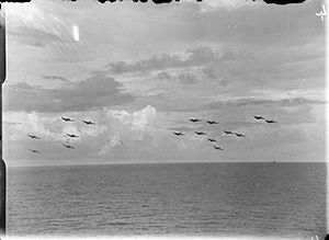 Operation Lentil (Sumatra) - Grumman Avenger torpedo bombers from HMS ''Indefatigable'' forming up for a raid on a Japanese oil refinery at Pangkalan Brandan during Lentil.