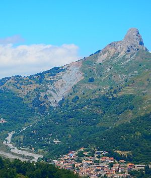 Sicily - the Rocca Salvatesta over Fondachelli Fantina, Peloritani mountains