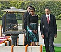 The US President, Mr. Barack Obama and the First Lady Mrs. Michelle Obama performing parikrama, at the Samadhi of Mahatma Gandhi, at Rajghat, in Delhi on November 08, 2010.jpg