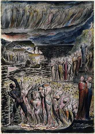 "Acheron - William Blake's depiction of ""The Vestibule of Hell and the Souls Mustering to Cross the Acheron""  in his Illustrations to Dante's ""Divine Comedy"" object 5 c. 1824-27. The original for the work is held by the National Gallery of Victoria."