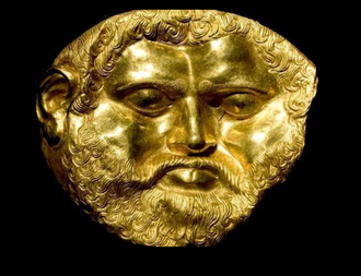 "Teres I - 2400-year-old life-size mask made of 23.5-carat gold and weighing 672 g (1.48 lb). The mask belonged to king Teres I (450 – 431 BC) and was unearthed in a mound at the Valley of the Thracian kings, Kazanlak region, Central Bulgaria in August, 2004. The sensational archaeological discovery was made by Prof. Georgi Kitov (1943 – 2008) and his team. According to him, ""There have been other gold masks discovered, but all of them are made of foil-thin gold. Gold masks with this shape and weight are absolutely unknown""."