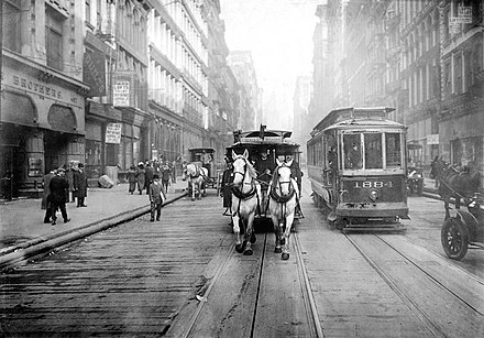 Horse-drawn trams continued to be used in New York City until 1917. The last of the Horse Drawn Carriages.JPG