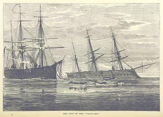 HMS Vanguard (1870) - HMS Vanguard (right) sinking.  HMS Iron Duke is on the left