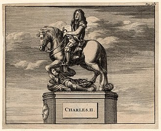 Newby Hall - Engraving of an equestrian statue: Charles II trampling Oliver Cromwell