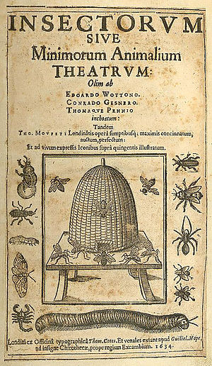 Thomas Muffet - Title page of Theatrum Insectorum (Theatre of Insects)