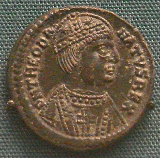 Ostrogoths - Coin of Theodahad (534-536), minted in Rome – he wears the barbaric moustache.
