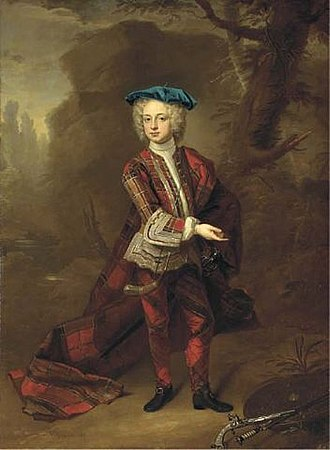 Thomas Osborne, 4th Duke of Leeds - The Duke of Leeds as a child, in Highland costume, with a targe, a sword and a pistol beside him, in a landscape, oil on canvas, by Hans Hausing, 1726