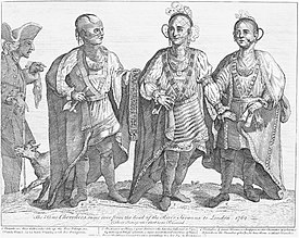 Woodcut of three Cherokees in native dress: Outacite, Austenaco and Standing Turkey