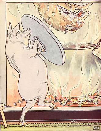 Big Bad Wolf - Image: Three little pigs the wolf lands in the cooking pot Project Gutenberg e Text 15661
