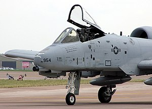 United States military aircraft national insignia - A USAF A-10 Thunderbolt II with low-visibility insignia on fuselage.