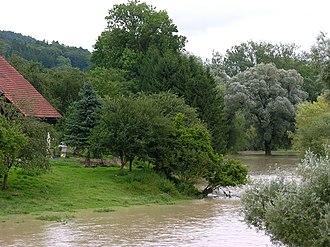 Uesslingen-Buch - Thur river flooding in Uesslingen-Buch in 2009