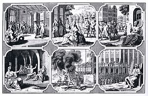 Utrecht sodomy trials - Timely punishment depicted as a warning to godless and damnable sinners. Engraving depicting the Dutch massacre of sodomites. Published in Amsterdam, 1731.