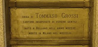 Tommaso Grossi - Grossi's grave at the Monumental Cemetery of Milan, Italy