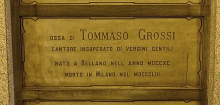 Grossi's grave at the Monumental Cemetery of Milan, Italy Tommaso Grossi grave Milan 2015.jpg