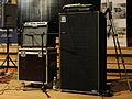 "Tony Levin's Chapman Stick rig - Crate FlexWave 65 combo amp (1x12"", 65W RMS), Ampeg SVT-3 Pro (450W RMS head), Ampeg Classic SVT-610HLF (6x10"" cab), dbx Pro db12 DI box (clip).jpg"