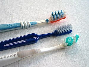 Three toothbrushes, photo taken in Sweden